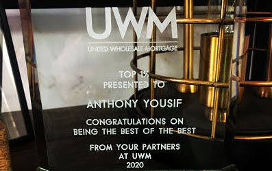 UWM awards Anthony Yousif top loan originator in 2020